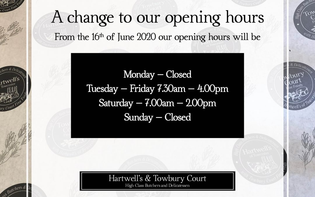 Opening hours from June 16th 2020